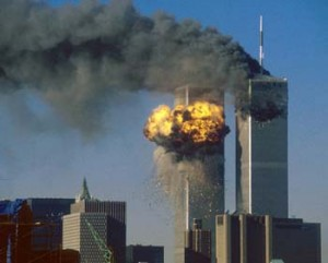 WORLD TRADE CENTER SOUTH TOWER IS IMPACTED BY HIJACKED UNITED AIRLINES FLIGHT 175.